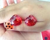 BEautiful pairs orange sapphire lab stone drilled top