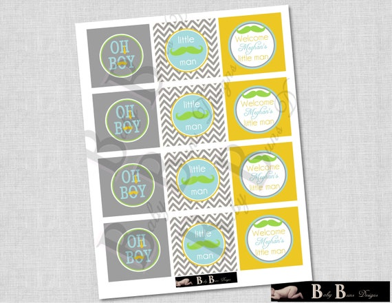Little Man Moustache and Tie Baby Shower - 2 inch round Cupcake Toppers (gray & blue)- Printable or Shipped