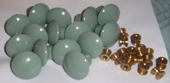 Vintage Drawer Knobs Cabinet Knobs Sage Green Ceramic