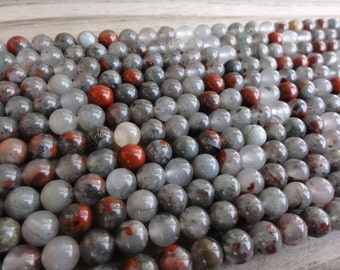 African Bloodstone Beads -  6mm Round Smooth - Full or Half Strand