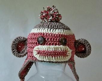 Crocheted Sock Monkey beanie with ear flaps