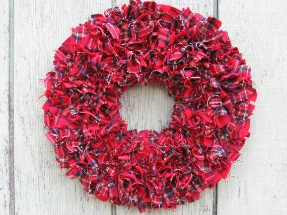 "FREE SHIPPING --- Ready to Ship --- 15"" Handmade Flannel Rag Wreath --- Christmas Plaid"