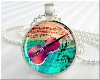 Violin Art Pendant, Resin Jewelry, Violin Musical Necklace, Picture Charm, Gift For Musician, Gift Under 20, Round Silver, Turquoise (079RS)