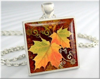 Fall Leaves Pendant, Autumn Leaves Jewelry, Fall Season Necklace, Resin Charm, Square Silver, Fall Colors, Art Pendant (006SS)