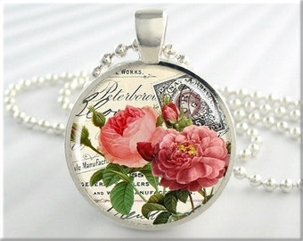 Pink Roses Pendant, Postcard Art Necklace, Pink Flowers Charm, Resin Art Pendant, Flower Jewelry, Round Silver, Gift Under 20 (046RS)