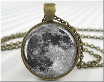 Moon Necklace Pendant Charm Lunar Space Jewelry Full Moon Round Resin (190RB)