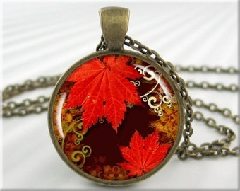 Autumn Art Necklace, Resin Charm, Leaf Jewelry, Fall Season Pendant, Round Bronze, Fall Colors Charm, Gift Under 20  (002RB)