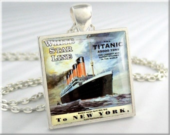 Titanic Pendant Necklace Vintage White Star Line Jewelry Cruise Ship Charm (340SS)