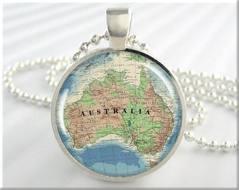 Australia Map Necklace Resin Pendant Charm Vintage Australia Travel Map Jewelry (367RS)