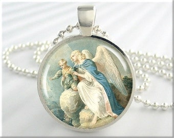 Angel Art Pendant Charm Guardian Angel Necklace Resin Picture Jewelry (414RS)