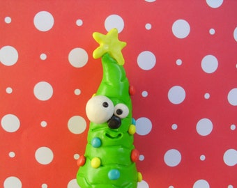Clay Christmas Tree Polymer Clay Gift Miniature Ooak Holiday Cute Funny Silly
