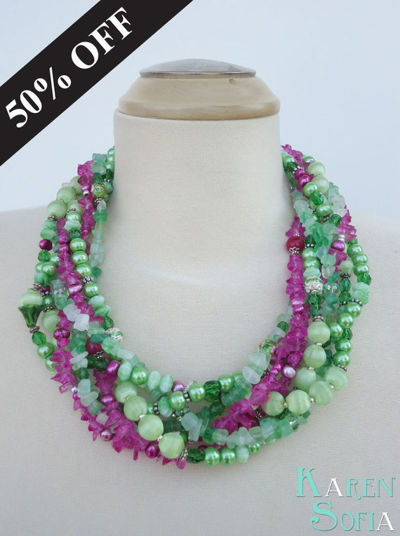 ON SALE - Statement Necklace - FLORA - Flower Garden Pink & Green Handmade Bold Chunky Multi-Strand Beaded and Braided Necklace