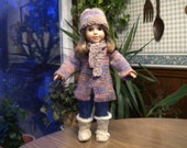 Hand knitted, variegated winter jacket and matching hat and scarf for American girl doll