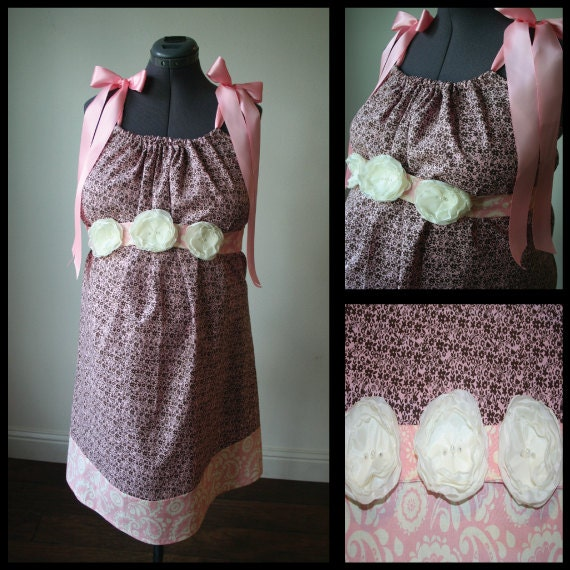 Maternity Hospital Gown - Pink with Brown Flowers, Pink Trim. Removable Sash with Cream Flowers (pearls and rhinestones)