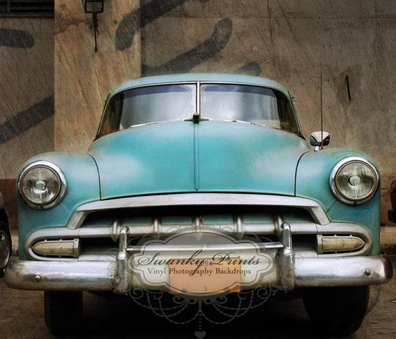 NEW ITEM 7ft x 6ft Vinyl Phogoraphy Backdrop / Old Vintage Blue Car