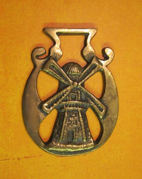 Vintage Dutch Windmill Horse Brass