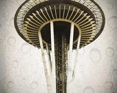 Seattle, Space Needle, Grunge, Raindrops, 8 x 10 Photography