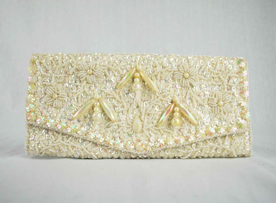 Vintage Ivory Beaded Clutch Purse with Dangling Beads, Hand Made in Hong Kong