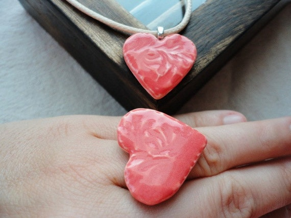 FREE SHIPPING Handmade Romantic Ceramic Heart Statement Ring and Necklace SET, Adjustable ring base, Coral Glazed