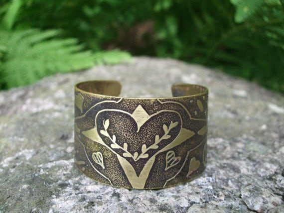Etched yellow bronze cuff