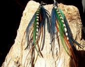 Leather and Feather earrings, Unique handmade feather earrings, clip in feather extension.