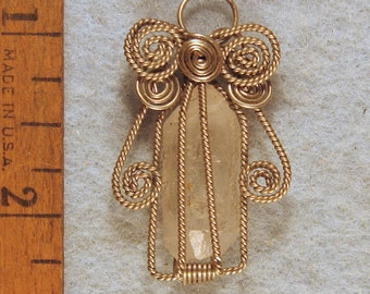 Tibet Double Terminated Healing Crystal Angel Wire Wrapped Cage Pendant