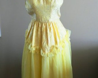 vintage dress ... PARTY PRETTY Vintage soft yellow SWEETHEART dress ...