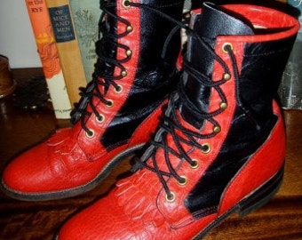 SALE marked down from 125  ... JUSTIN ankle BOOTS 2 toned Red Black Leather fabulous find ...