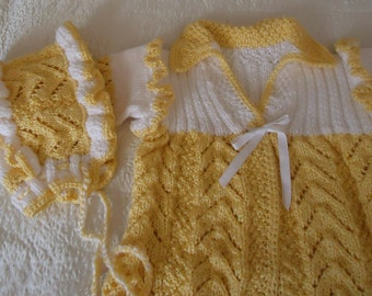 Hand Knitted Baby Set.... for a small sunflower
