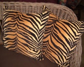 Tiger Tiger, Accent Pillows, Black & Gold, Luxe Faux Suede Animal Pattern, Tiger Markings, Brightens Any Space Immediately, Glam Tiger