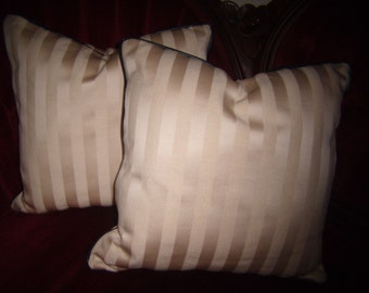 REDUCED Cream Stripes Accent Pillows,  All Cotton Textured, Cream On Cream, Black Vinyl Piping Trim - Formal With A Twist - By Pillowinno