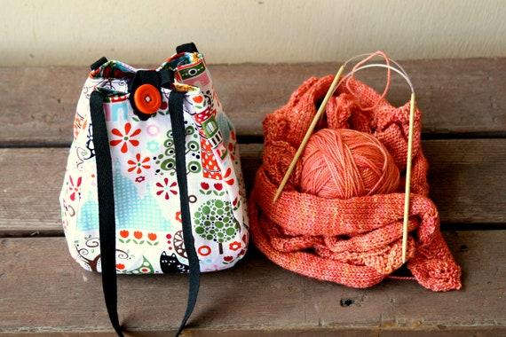Knitting Project Bag / Crochet Project Bag / Lantern Bag/ Lunch Bag - Small - Paris Summer