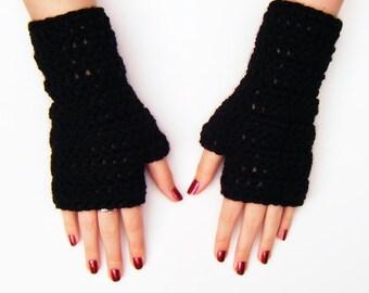 Black Fingerless Mittens Chunky Crochet Gloves