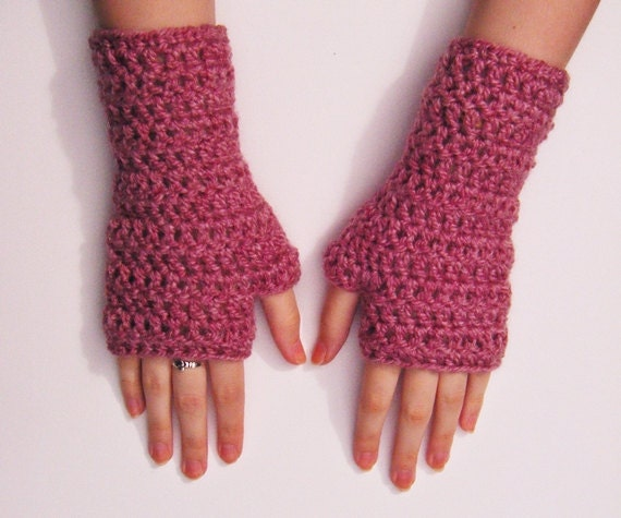 Pink Fingerless Gloves Crochet Mittens Chunky Handwarmers