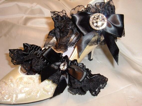 A Sassy Black Bridal Garter Set, Black Lace on Satin Ribbon