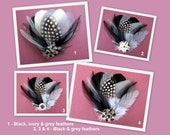 Feather Fascinator Black Grey Ivory, Wedding Fascinator,  Bridesmaids Feather Fascinator, Grey, Black and Ivory or Grey and Black
