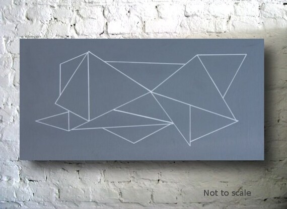 Triangles I - Gray and White Abstract Acrylic 12 x 24 Painting, Original Geometric Minimalist Art