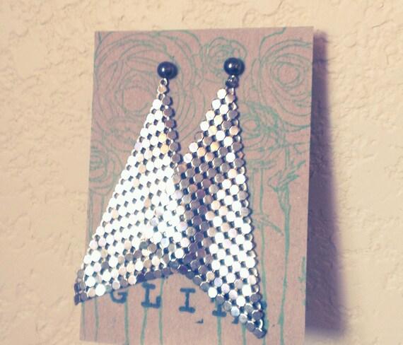 Glitz - Vintage Metal Mesh Triangular Earrings, old hollywood, geometric, women, teens, girls FREE SHIPPING