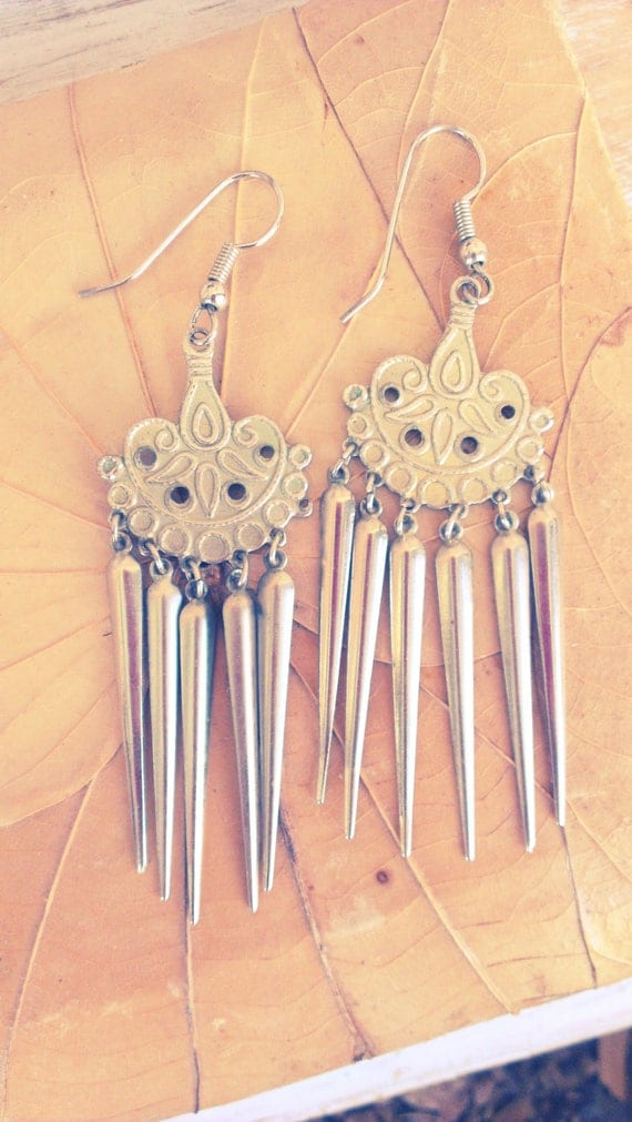 Spike It - Vintage Avant Garde Spike Dangle Earrings, tribal inspired metal silver geometric minimal women teens girls