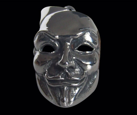 Stainless Steel Guy Fawkes V Mask Biker Pendant sold without the Chain - Free Shipping