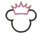 Mouse Applique, Embroidery Design, Crown Applique (22) Instant Download