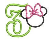 Minnie Mouse Head Applique, Minnie Mouse Applique Design, Number Applique Design (45) Instant Download