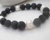 Natural Black Lava - White Pearl Elastic Stretch Bracelet