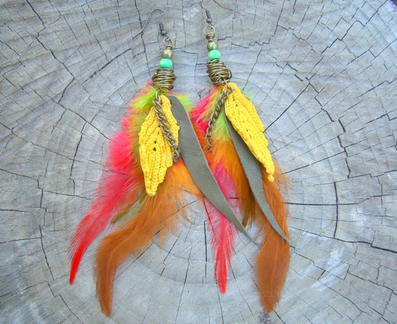 Feather & Leather Earrings