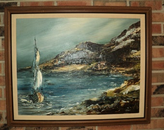Original Oil Painting on Canvas of  Sailboat in full sail near a rocky shoreline in the shoal, signed by The Artist Kozlowski