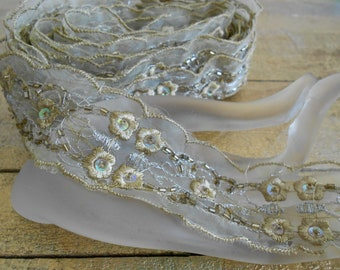 Gold Toned Floral Sequined Trim