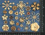 Metal Stamped Flowers, Brass Flower Stampings, Vintage Metal Flowers, Brass Flowers, Brass Flower Mix STA-041