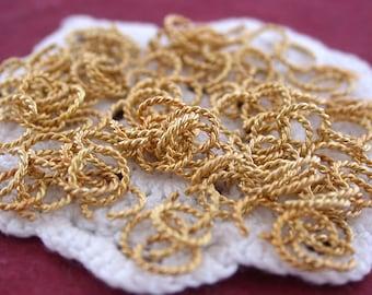 Sale, Closeout, Destash, 240+ 7mm Twisted Wire Gold Plated Jumpring Links, Decorative Jumprings, Destash Findings, Destash Supplies  FIN-031