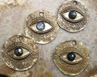 Bronze Protection Eye and Rose Cut Sapphire Coin