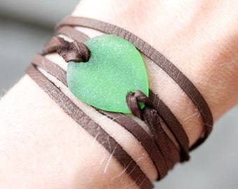 Sea Glass & Leather Wrap Bracelet or Necklace - Green Seaglass